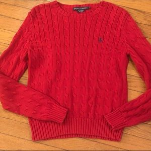 Ralph Lauren Red Cable Knit Sweater Size Medium